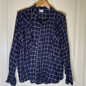 Abound Nordstrom ruffle plaid blouse shirt XL